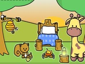 Decoration-game-with-a-squirrel-a-giraffe-and-bees