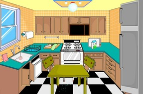 Decoration-game-in-a-kitchen-in-disorder